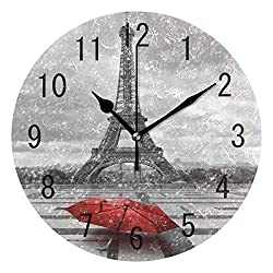France Paris Eiffel Tower Red Umbrella Round Wood Wall Clock for Home Decor Living Room Kitchen Bedroom Office School
