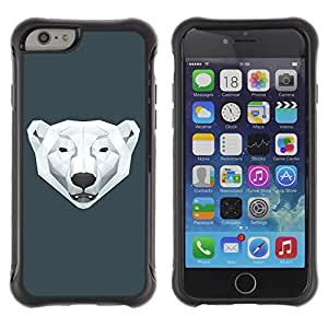 Hybrid Anti-Shock Defend Case for Apple iPhone 6 4.7 Inch / Cool Polygon Polar Bear