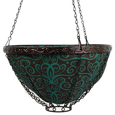 Toland Home Garden Damask 14-Inch 2-Gallon Decorative Insulated Hanging Art Planter Basket 202006
