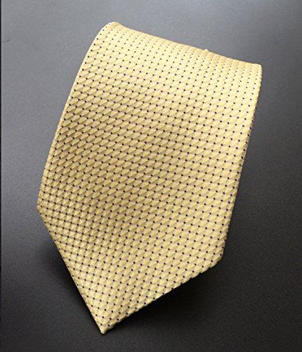 Produits Pour Homme Mendeng Rayures Cravate En Microfibre Pour Les Affaires Robe Casual Jaune