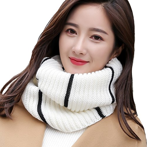 Leories Winter Warm Infinity Scarf Thick Knit Neck Warmer Circle Loop Scarf White