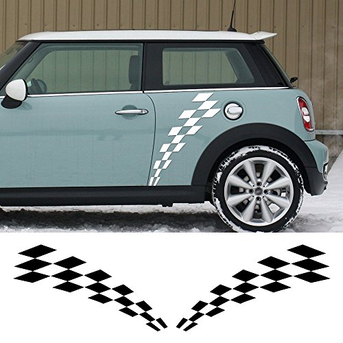 (2 Pecies for Mini Cooper R56 R57 R58 Clubman R55 F54 R60 F56 F55 R61 Car Door Sticker Racing Checker Flag Side Stripes Graphic Decal (black))