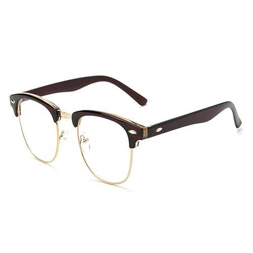 Hzjundasi Semi-sin montura Anti-radiación Gafas Vintage Lente clara Luz azul Filtrar Hombres/Mujer