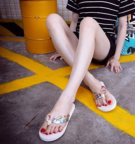 sandalias mujer planas verano 2017 Switchali moda zapatos mujer tacon fiesta atractivo casual Sandalias de vestir floral Zapatos de playa Básico Chanclas para mujer baratos Beige