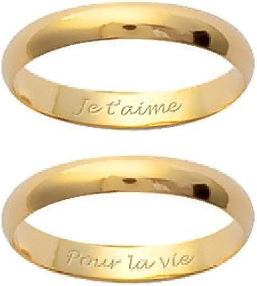 Gravure Offerte So Chic Bijoux /© Couple dAlliances Personnalisable Ensemble Set 2 Bagues Mariage 3 mm Plaqu/é Or 750