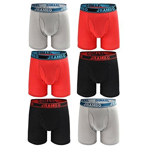JRAMBO Mens Boxer Briefs Cotton Underwear Men Pack Long Legs Men's Boxer Briefs (Pack Of 6) Black/Red/Gray X-Large (Men Boxer Pack)