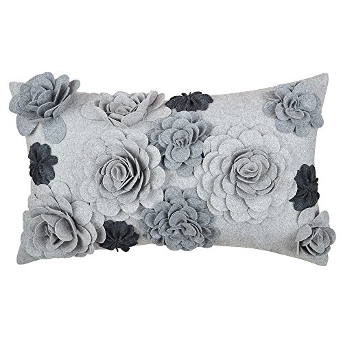 Handmade Covers Pillow Decorative - King Rose Handmade 3D Flowers Decorative Accent Throw Pillow Covers Solid Wool Cushion Cases for Home Bed Living Room 12 x 20 Inches Gray