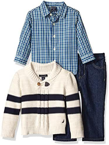 Nautica Baby Boys' Three Piece Set with Woven, Striped Shawl Sweater, Denim Jean