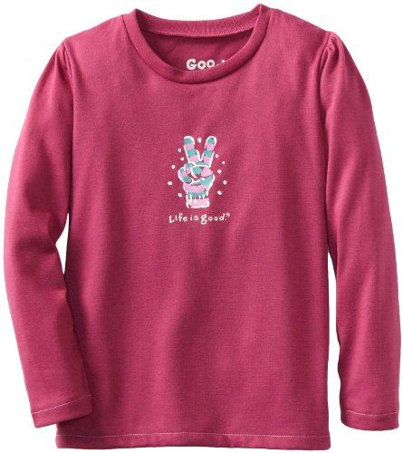 Girls Life Is Good Sleep Pant (Life is Good Girl's Sleep Long Sleeve Tee, Peace Glove, Magenta, Medium)