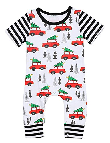 Baby Boys Girls Short Sleeve Christmas Romper Trees and Cars Print Long Jumpsuit