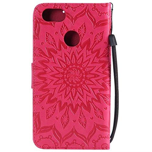 Huawei P9Lite Mini Móvil, cowx Teléfono Móvil para Huawei P9Lite Mini Funda piel Flip case cartera funda carcasa para Huawei Huawei Y6Pro 2017Cover Girasol–Rojo