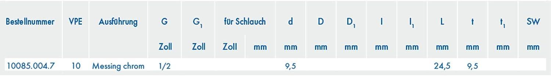 Verchromt ABA Beul 10085.004.7 Gewindestecker mit Innengewinde G 1//2 zur Brauseschlauch-Steckkupplung