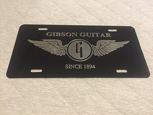 Diamond Etched Gibson Guitars Logo Car Tag on Black Aluminum License Plate (Guitar Plate Diamond)