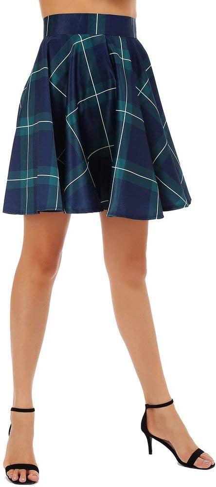 Yogasada Faldas Plisadas Ocasionales Femeninas Mini Faldas Acampanadas con Cielo Estrellado//patr/ón a Cuadros Marr/ón M Plaid