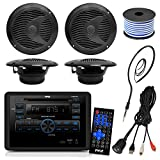 outside rv speakers - Pyle PLRVST300 RV Wall Mount Bluetooth CD/DVD Receiver Bundle Combo With 4x Black 6-1/2'' Dual Cone Waterproof Stereo Speaker + Enrock Radio Antenna + USB/AUX To RCA Cable +18G 50-FT Wire
