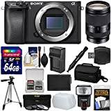 Sony Alpha A6300 4K Wi-Fi Digital Camera Body (Black) with 18-200mm LE Lens + 64GB Card + Case + Flash + Diffuser + Battery/Charger + Tripod + Kit