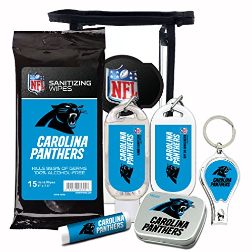 (Carolina Panthers 6-Piece Fan Kit with Decorative Mint Tin, Nail Clippers, Hand Sanitizer, SPF 15 Lip Balm, SPF 30 Sunscreen, Sanitizer Wipes. NFL Football Gifts for Men and Women)