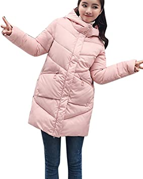Mujer Abrigos Plumas Largo Chaquetas Invierno Parkas Cálido Cazadoras Pink S   Amazon.es  Deportes y aire libre 4ee266e7a2a8