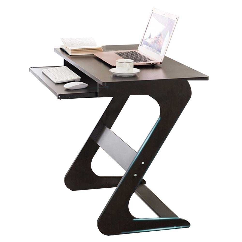 Laptop Desk Computer Table with Sliding Keyboard for Small Spaces PC Z-Shaped Simple Dormitory, Wood GAOFENG (Color : Black Walnut, Size : 75x40x70cm)