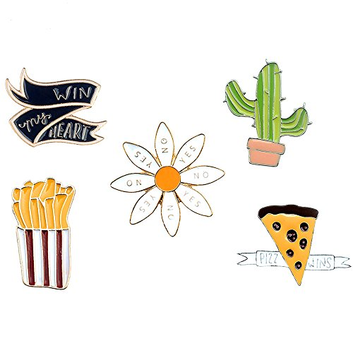 - Cute Plant Brooches Pin Cartoon Animal Enamel Lapel Pins Badges for Children Women Girls Clothing Bags Backpacks Jackets Hat Decor (Chrysanthemum Cactus French Fries Pizza Set of 5)