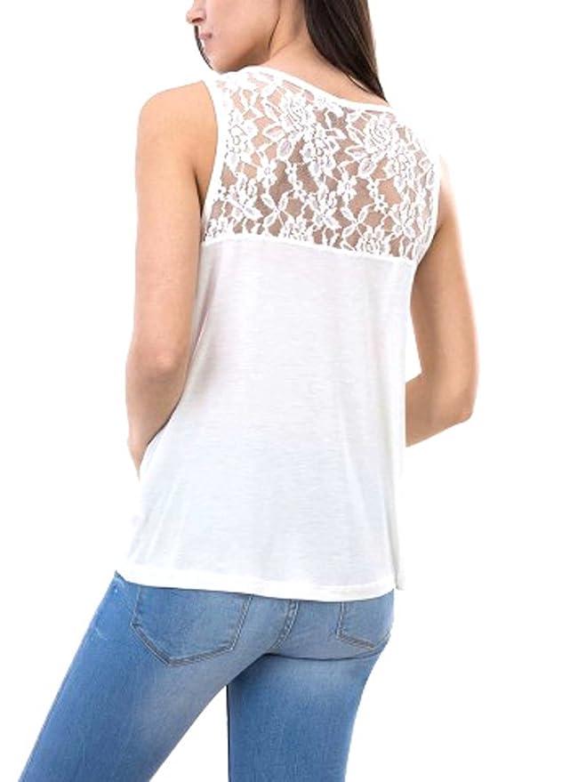 Tiffosi Camiseta Tirantes Crudo Mujer Nia con Volantes Y Encaje (S): Amazon.es: Ropa y accesorios