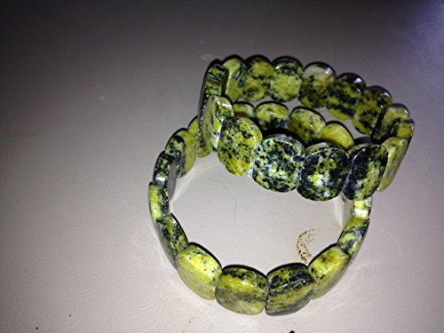 natural peach aventurine ovals beaded stretch bangle bracelet