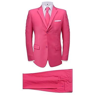 vidaXL Traje de Hombre Dos Piezas con Corbata Color Rosa ...