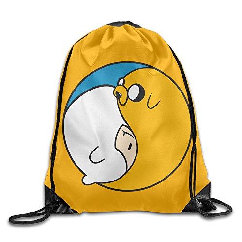 Adventure Time Jake & Finn Yin Yang Travel Shoulder Bags Drawstring -