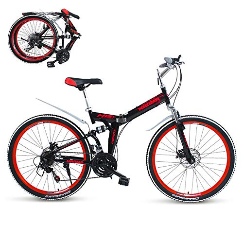 ZXCTTBD Compact Folding Bike,21-Speed,Double Disc Brake,Featuring Front and Rear Fenders,Lightweight Aluminum Frame,Folding Bicycle Great for City Riding and Commuting,24/26-Inch Wheels