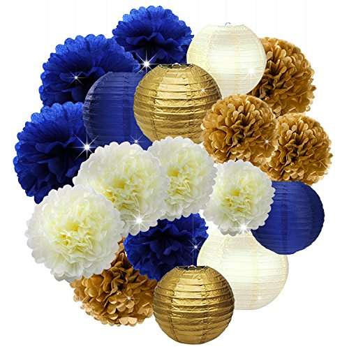 18PCs Navy Blue Gold Cream 10inch 12inch Tissue Paper Pom Pom Paper Flowers Honeycomb Paper Lanterns for Navy Blue Themed Party Decoration Bridal Shower Decor Baby Shower Royal Prince Party Supplies by Lillypet