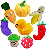 Malier Small Dogs Plush Toys , Fruits and Vegetables Plush Squeaky Puppy Dog Toys Perfect for Puppies and Small Dogs