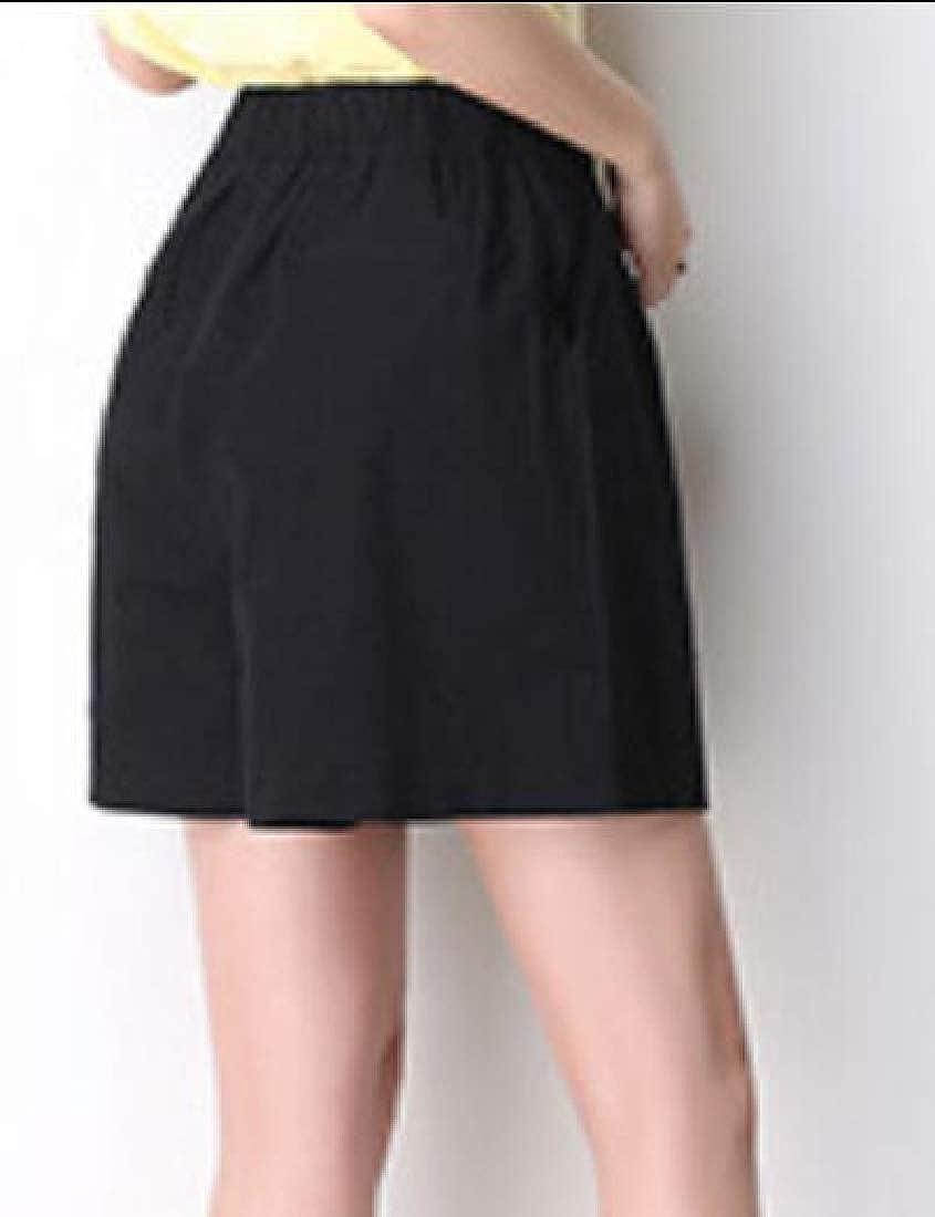 Beloved Womens Wide Leg Linen Bermuda Short Elastic Waist Walking Shorts