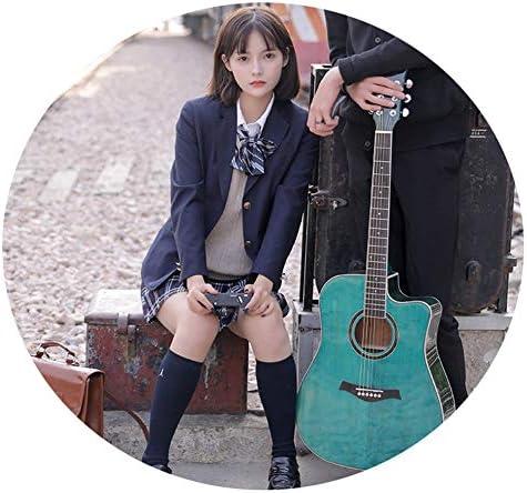 YJFENG フォークギター、 41インチ スプルース単板 安定したピッチ ピアノペイント 鏡面反射 クラブパフォーマンス、初心者、ステージパフォーマンス (Color : Blue, Size : 105cm)