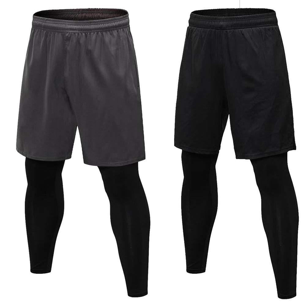Pantaloni Fitness Falsi Due Sport Fitness Allenamento Uomo 2 in 1 Pantaloni Collant Sportivi Casual