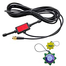 HQRP 433MHz 2dbi GSM Antenna SMA male tentacle 3m RG174 cable w/ Universal CMMB Patch for Digital Cellular Alarm Communicator / Mobile Phone / Car GSM Phone + HQRP UV Meter