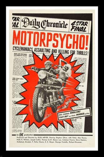 Cult Director Russ Meyer's Motorpsycho poster sex & violence motorcycle gang