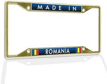 ROMANIAN FLAG ROMANIA HEAVY DUTY CHROME License Plate Frame Tag Holder