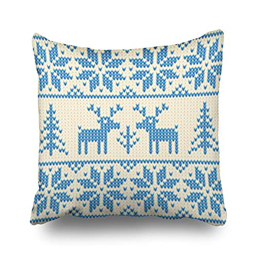 Hitime Throw Pillow Covers White Blue Christmas Ornamental Merry Embroidery Deers Holidays Design Pillowcase Square Size 16 x 16 Inches Decorative Home Bedroom Sofa Couch Cushion Cases