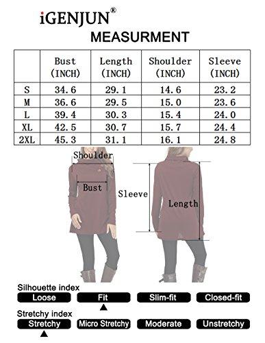 iGENJUN Women's Long Sleeve Lapel Neck Button Design Loose fit Casual Basic Tops,Green,M by iGENJUN (Image #3)