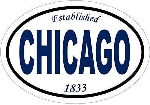 Chicago Decal - Established 1833 Chicago Vinyl Sticker - Chicago Bumper Sticker - City Decal - Perfect Windy City of Chicago Gift - Made in the USA