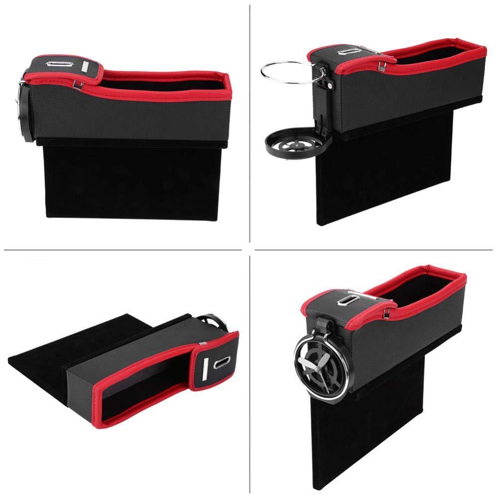 KIMISS Auto Sitz L/ücke Spalt Organizer Aufbewahrungsbox Tasche Halter Tasche f/ür Getr/änke Brieftasche Telefon M/ünzen Schwarz-roter Beifahrer