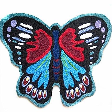 USTIDE Handmade Animal Shaped Rug - Shaped Rug Butterfly