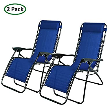 PARTYSAVING Infinity Zero Gravity Outdoor Lounge Patio Folding Reclining Chair Navy Blue Set of 2 APL1015