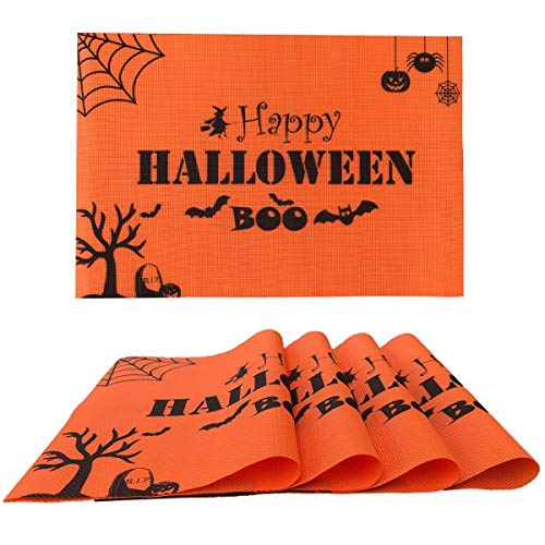 Monadicase Halloween Placemats Set of 4, 12'' x 17.8'' Spider Pumpkin Happy Halloween Print Kitchen Decor, Heat-Resistant Placemats Stain Resistant Anti-Skid Washable PVC Orange Table Mats