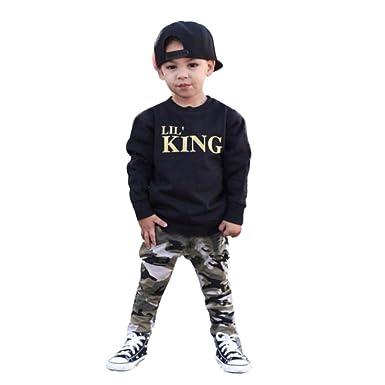 b4d929214  Lil  King  Print Toddler Baby Boys 2017 Trendy Outfits Sweatshirt+Camo  Pants Clothes Set