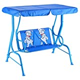 Custpromo 2 Person Kids Patio Swing Chair Children Porch Bench with Canopy (Blue)