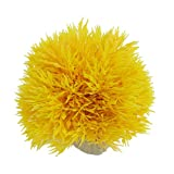 Uxcell Jardin Plastic Ball Shaped Decorative Grass Plant for Aquarium, 3.5-Inch Height, Yellow