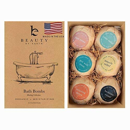 Bath Bombs Gift Set - 6 Large Natural & Organic, Birthday Gifts for Women, Bath Bomb Gifts for Her, Bath Bombs for Kids, Bath Bombs for Women With Shea Butter, Bath Salts and Essential Oil Scented (Hugo Natural Bath Bomb)