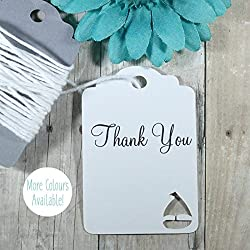 White Boat Thank You Tags - Nautical Themed Party (Set of 20)