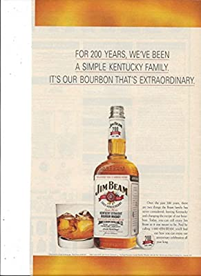 MAGAZINE ADVERTISEMENT For Jim Beam Bourbon 1995 Simple Kentucky Family